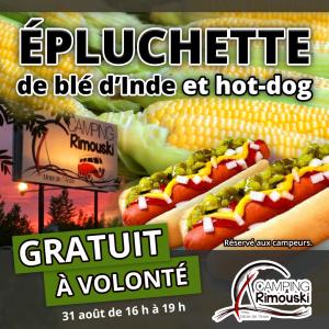 Épluchette de blé d'inde et hot-dog